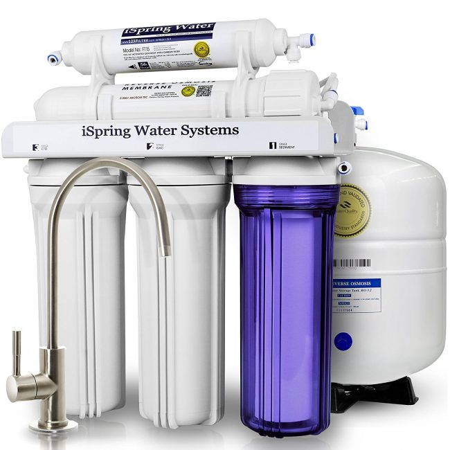 ispring rcc7 5 stage residential under sink reverse osmosis water filter system review clean. Black Bedroom Furniture Sets. Home Design Ideas